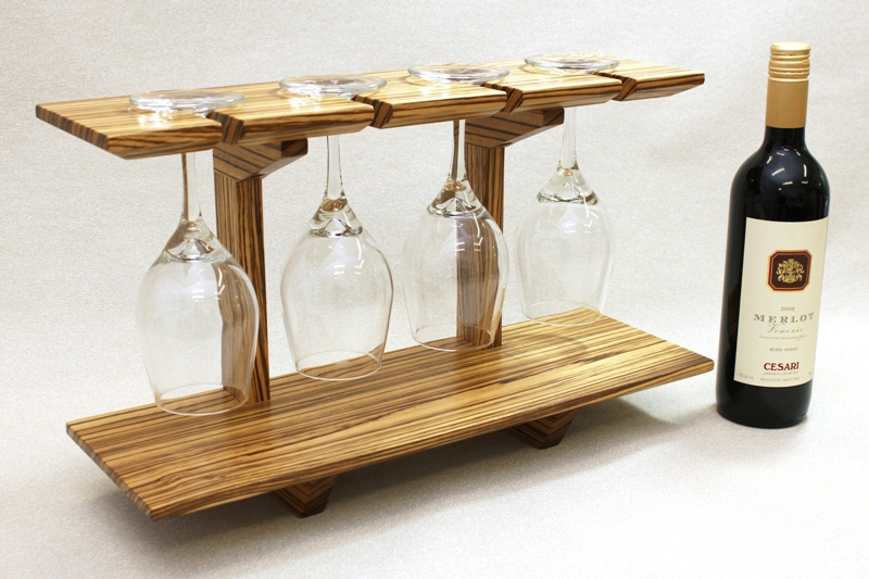 "Zebrawood Wine Glass Display Shelf…..working for a ""Tough Designer"""